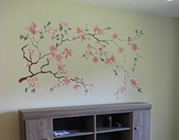 Blooming Magnolia Wall Painting