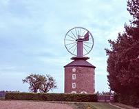 windmills with historical camera on velvia slide 6x9