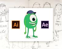 Mike-run animation (free AI & AE)