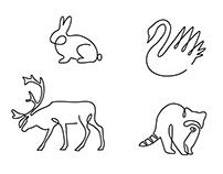 One line animals design