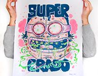"Serigraphie + couleur ""super crados"""