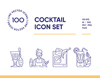 Cocktail Bar Line Icon Set