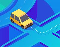 2.5D Smart driving illustrations