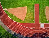 Leichtathletic stadium with drone photography
