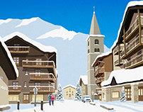 Val d'isere Ski Town Poster