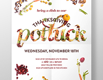 Thanksgiving Potluck Food Typography