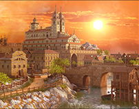 Sunset Medieval Environment