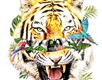 Tropical Tiger Tshirt Design