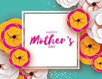 Happy Mother's Day. Flower. Paper cut art
