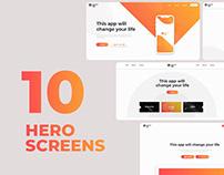 Set of 10 Free Hero Screens / Ready to use PSD Files