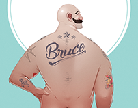 """Nude Bruce Review"" Cover Illustration"