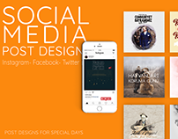 Social Media Post Designs- For Special Days