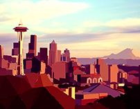 Seattle Skyline Low Poly