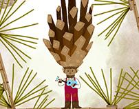 Pinecone Boy and his ukelele