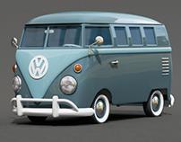 3d - Cartoon styled vintage VW Bus