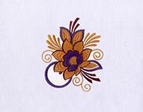 Detailed Purple Flower Digital Embroidery Design