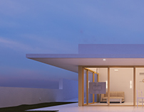 House with cantilevered roof