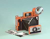 3D - Vintage Polaroid camera