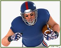 3D Model: White American FootBall HQ 002