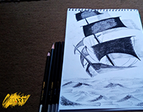 Sailing Ship Charcoal Pencil Sketch|Powered by #SyedArt