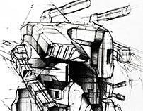 Robots Design Sketches made on 70cm x 50cm paper