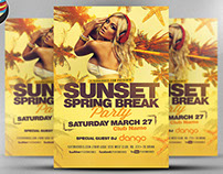Sunset Spring Break Party Flyer Template
