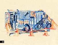 Hydro Quebec Truck on Rue Drummond