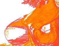 Femme orange et jaune - Feutres