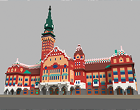 City Hall in Subotica, Republic of Serbia, 3D Voxel art