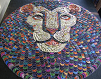 LION,custom decorative pannel.Recycling art.Capsule Art