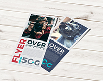 Free Flyer Over Wooden Background Mockup