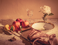 still life with fruit and still life panoramatic