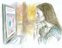 """Ilustração """"a comunicação social e a educação"""""""