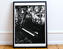 My home, piano and contrabass, linogravure