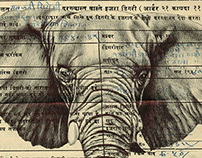 Bic biro drawing on a 1945 Indian document