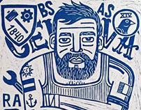 Woodcut. Immigrants Project. Italy.
