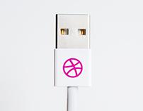 USB Cable Logo Mockup