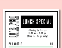 IT's PHO LUCH SPECIAL MENU DESIGN