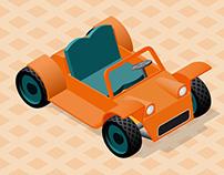 Isometric retro car
