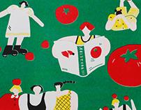 トマトガールTomato Girl Risograph Riso Print 红番茄女孩