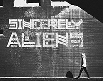 Sincerely Aliens logo and single style