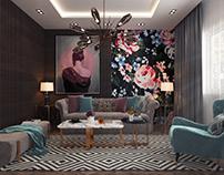 Modern Floral Living Room