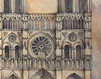 Notre Dame Watercolor