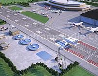 3d floor plan design for aireport terminal Concept