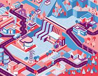 UVEK, isometry, website illustration