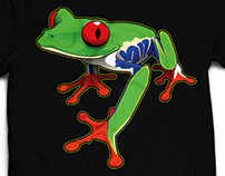 Tropical red eyed tree frog