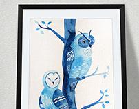 Owls - watercolor