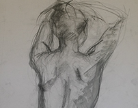 nude drawings, works on paper, life drawings