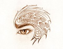 Tribal Eagle Tattoo (Over Eyebrow) - For Kashmora Movie