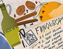 Greek theme inspired food illustration